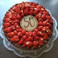 Schoko-Sahne mit Erdbeeren
